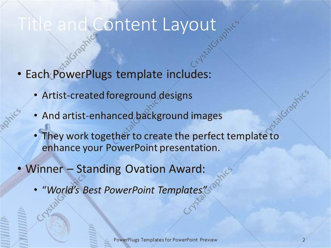 powerpoint template: church cross steeple with blue cloudy sky (25034), Presentation templates