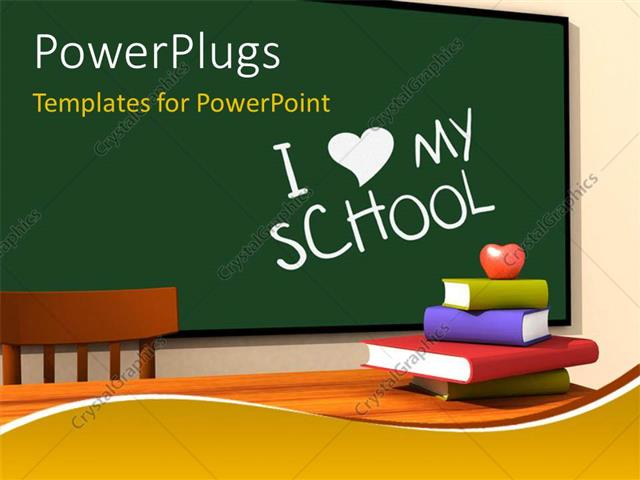 powerpoint template: classroom with multicolor books and keyword i, Modern powerpoint