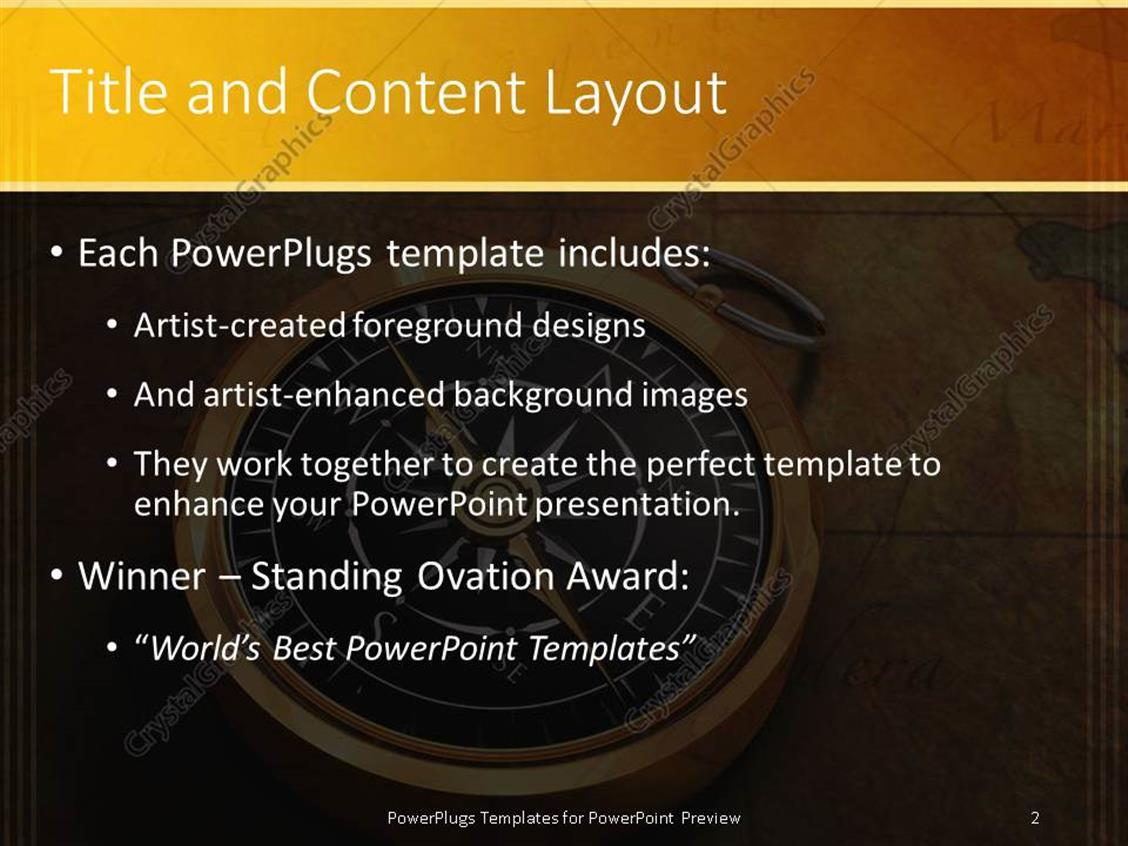 powerpoint template: classy golden compass on ancient map (19524), Modern powerpoint