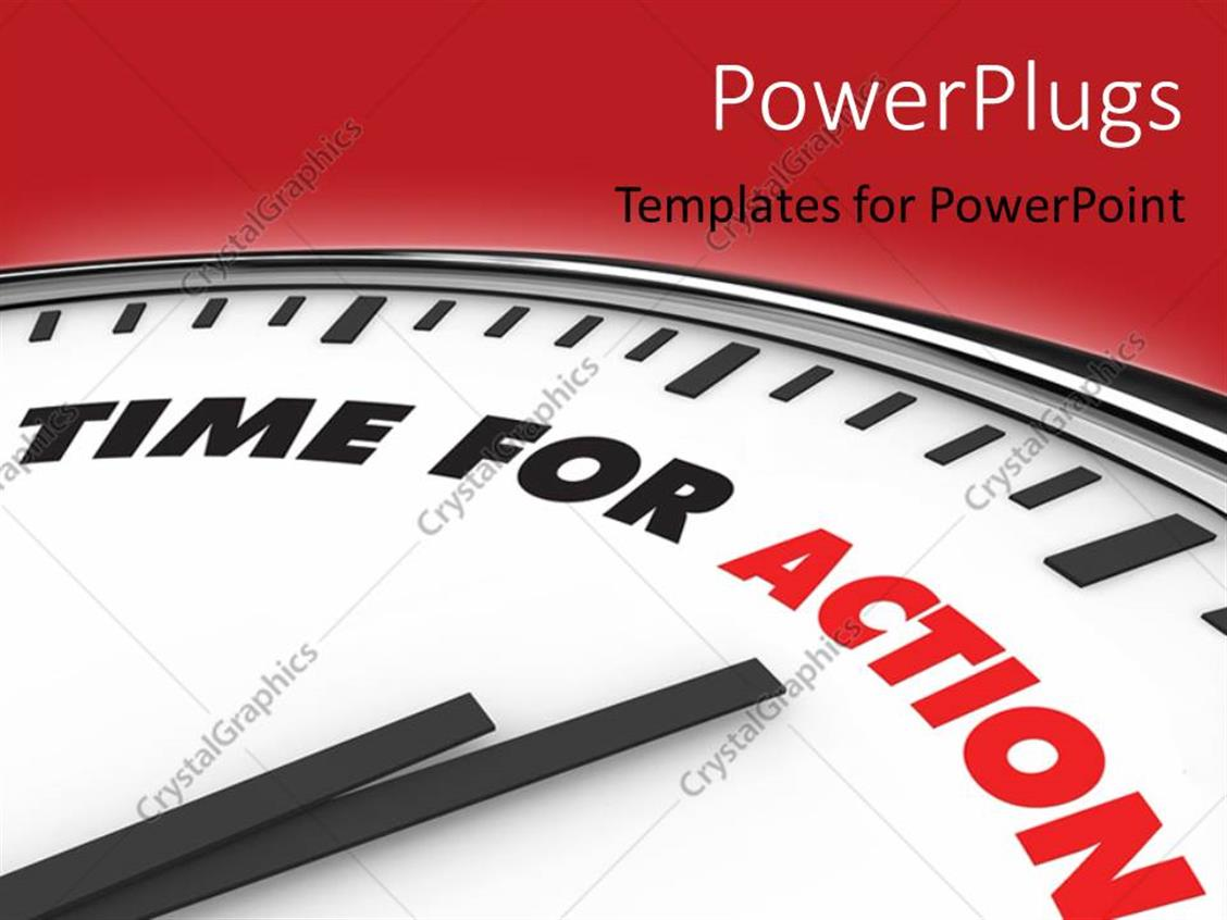 PowerPoint Template Displaying a Clock with Reddish Background and Place for Text