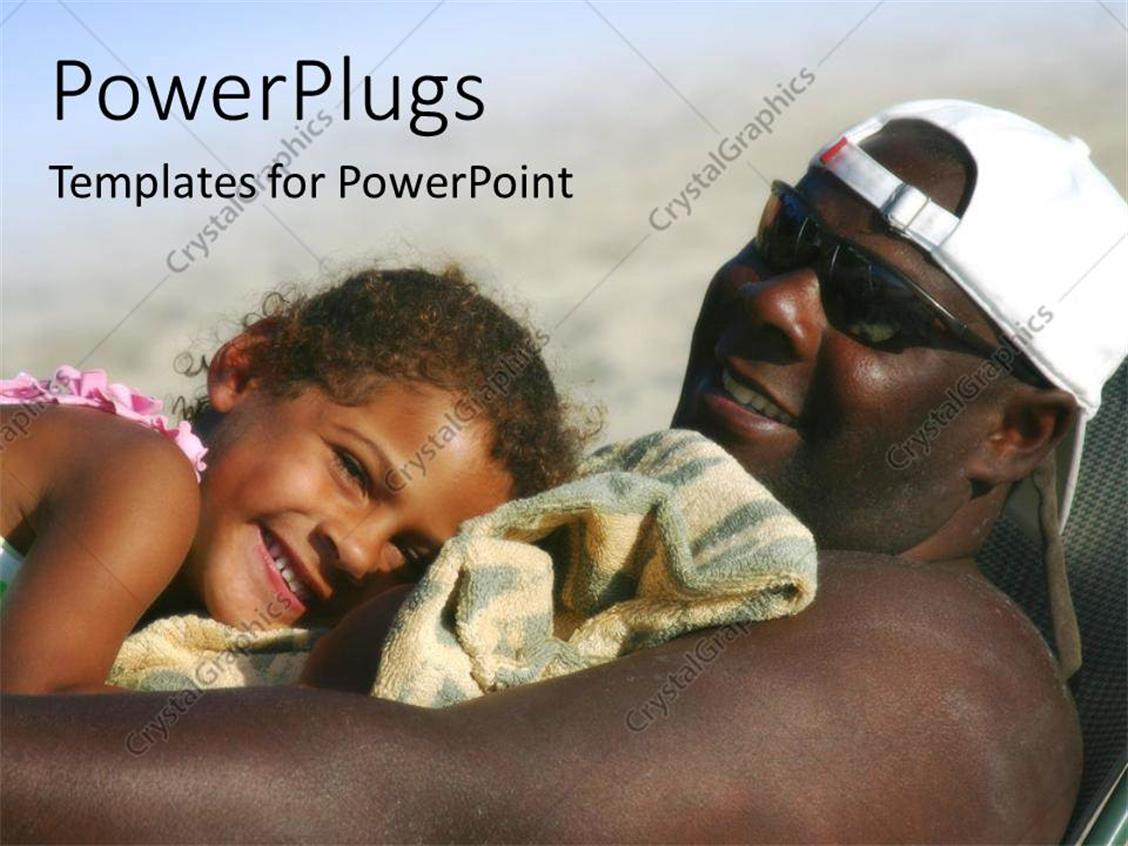 Powerpoint template close up of african american father relaxing powerpoint template displaying close up of african american father relaxing on beach chair with daughter toneelgroepblik Gallery