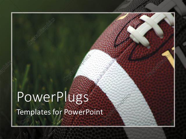 Powerpoint Template CloseUp Of American Football On Grass With
