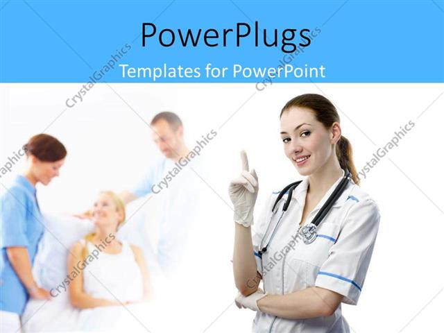 Powerpoint Template CloseUp Of Beautiful Nurse With Patient In
