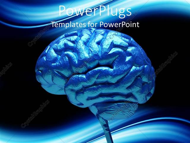 Powerpoint Template: Close-Up Of Blue Human Brain (3712)