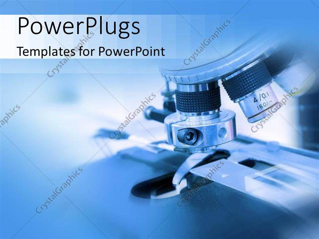powerpoint template: close-up of microscope in biology or medical, Modern powerpoint