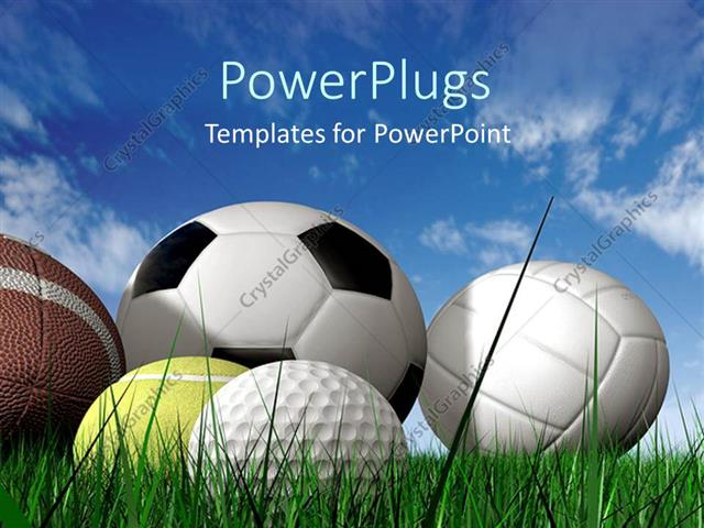powerpoint template close up of five sports balls on green grass 2836. Black Bedroom Furniture Sets. Home Design Ideas