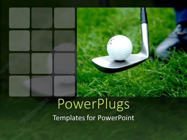 powerpoint template: close up of golf ball on golf club on green, Modern powerpoint