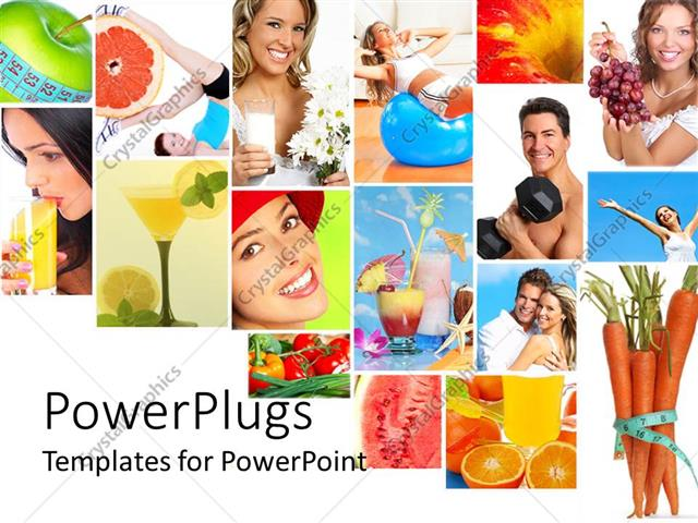 PowerPoint Template Displaying Collage of Healthy Lifestyle with Healthy Nutrition Diet and Fitness Fruits Vegetables Fresh Juice Measuring Tape