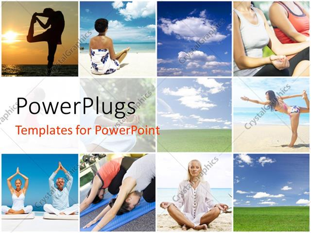 PowerPoint Template Displaying Collage of People Doing Yoga and Blue Cloudy Sky