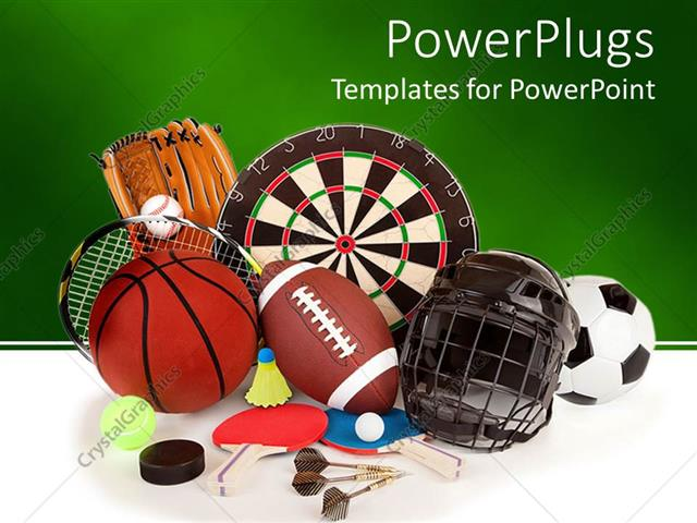 Powerpoint Template: A Collection Of A Number Of Sports Item, From