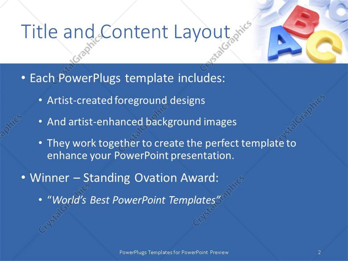 powerpoint template colored 3d letters on blue themed background