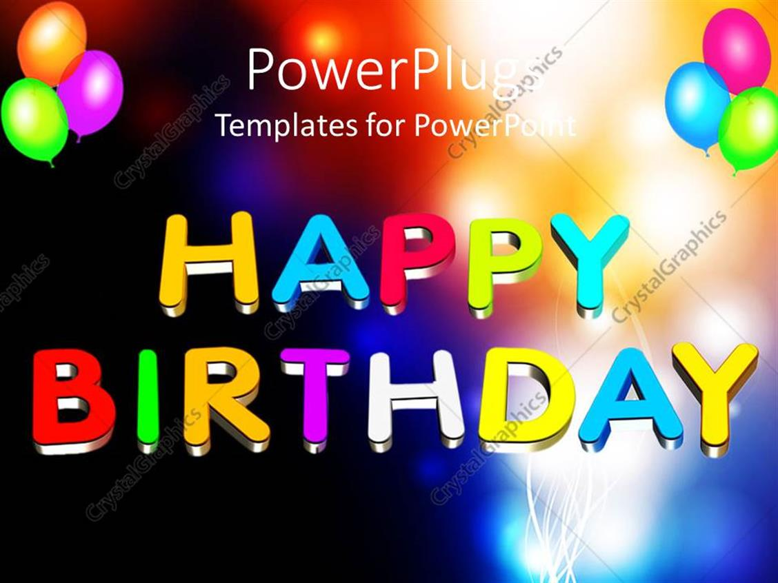 PowerPoint Template: Colorful 3D Happy Birthday Text With