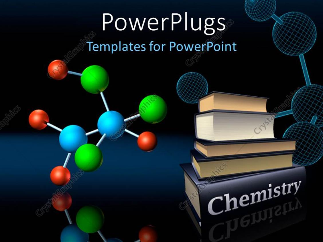 PowerPoint Template Displaying Colorful Molecular Structure and Wireframe Model with Chemistry Books