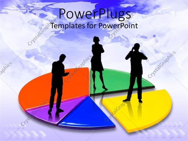 PowerPoint Template Displaying Colorful Pie Chart with Three Business Persons Standing on Chart Plain World Map in Background
