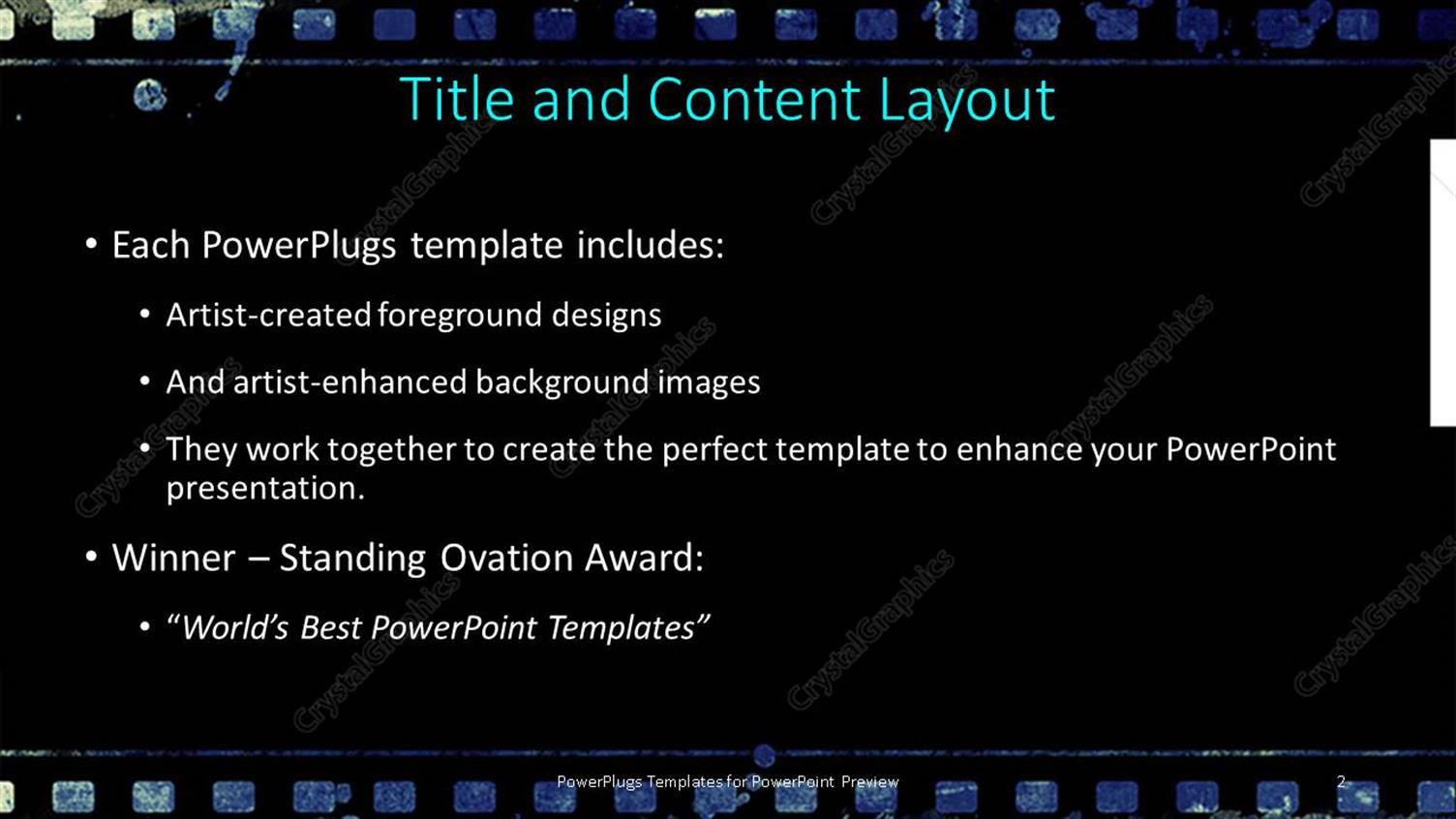 Powerpoint template a strip of black film on a blue colored powerpoint products templates secure pronofoot35fo Image collections
