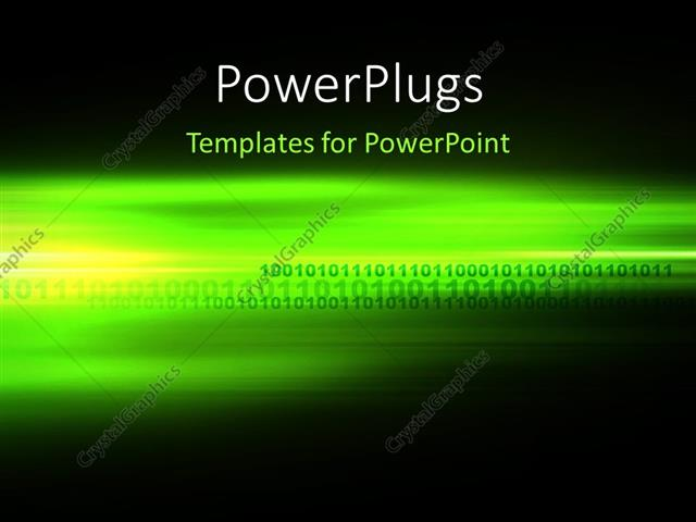 PowerPoint Template Displaying Computer Generated Digital Binary Code Futuristic Background in Green