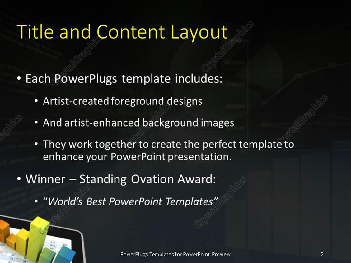 Powerpoint template computer spreadsheet and charts to show the powerpoint products templates secure standing ovation award toneelgroepblik Image collections