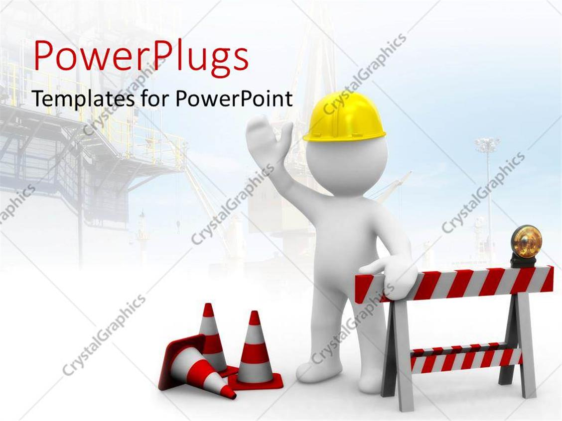 PowerPoint Template Displaying Construction Worker and Red Road Signs with Yellow Hard Hat on a White Background