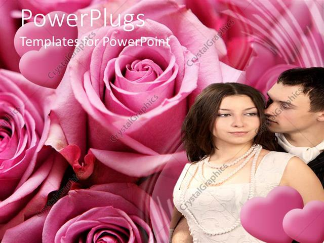 PowerPoint Template Displaying a Couple with a Number of Roses in the Background