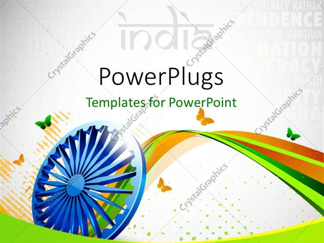 Powerpoint template creative background with indian flag for Th background color