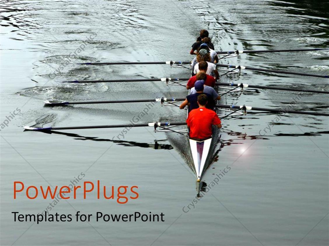 PowerPoint Template Displaying Crew Rowing Together on River Teamwork