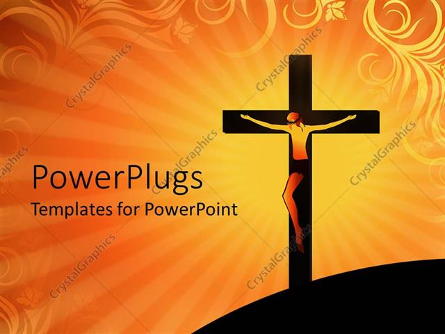 Powerpoint template crucifixion of jesus christ on cross over powerpoint template displaying crucifixion of jesus christ on cross over orange colored background toneelgroepblik Images