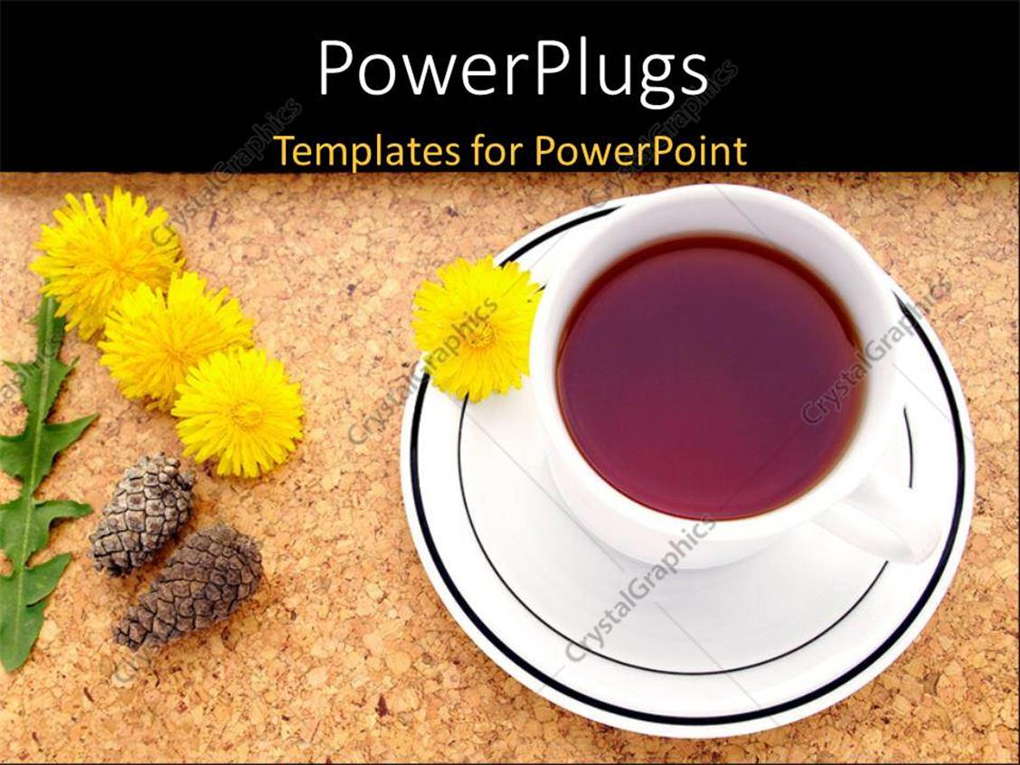 PowerPoint Template Displaying a Cup of Tea with a Number of Flowers