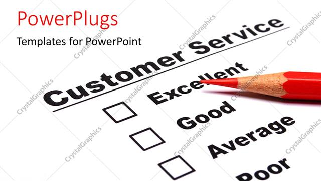 powerpoint template a color pencil and a customer service, Powerpoint