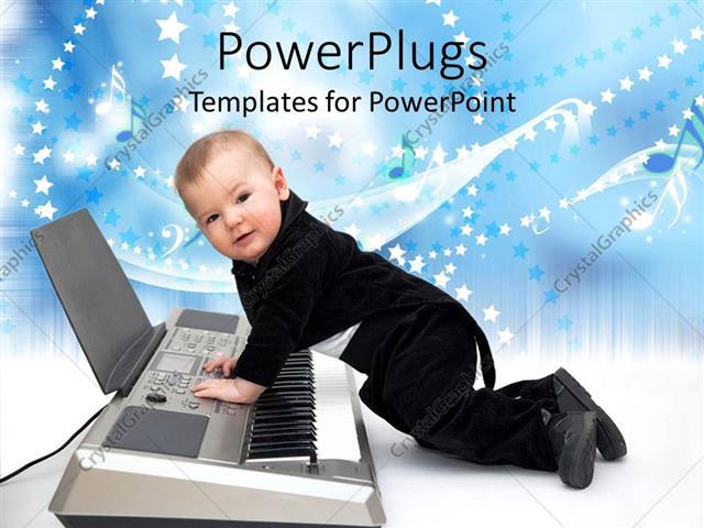 PowerPoint Template Displaying Cute Baby Boy Dressed in Black Tuxedo Playing a Piano