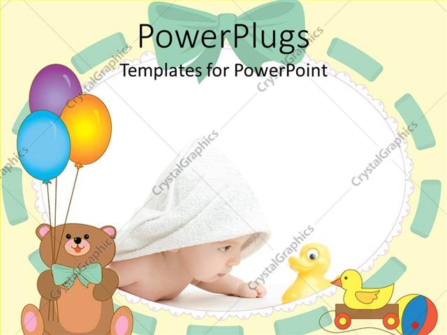 Powerpoint template cute baby wrapped in white towel staring at powerpoint template displaying cute baby wrapped in white towel staring at toy duck toneelgroepblik Image collections