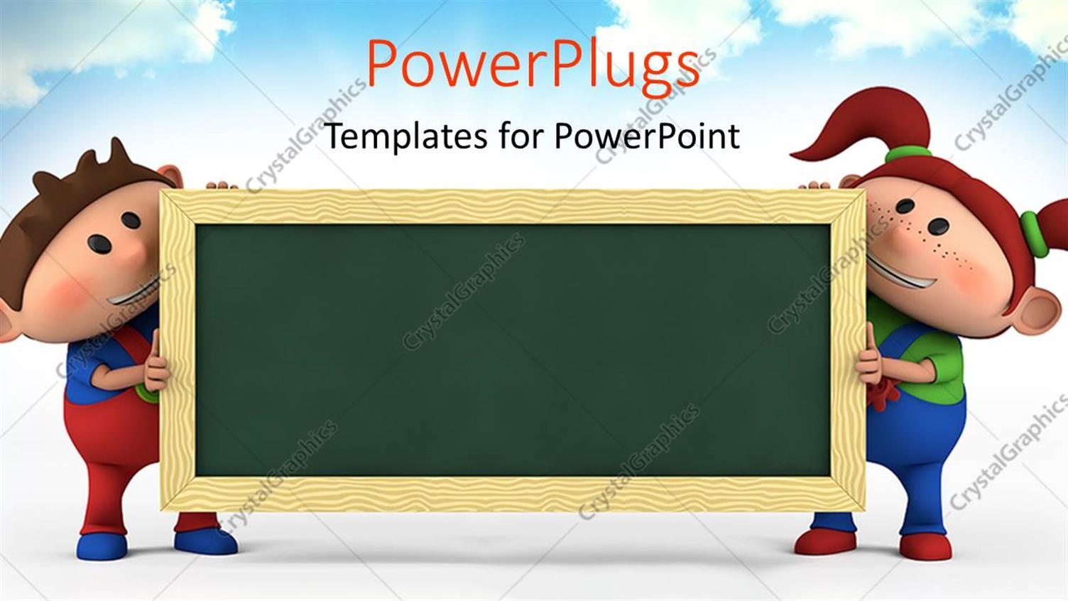 Powerpoint template cute cartoon boy and girl with blackboard powerpoint template displaying cute cartoon boy and girl with blackboard education concept with sky in toneelgroepblik Images
