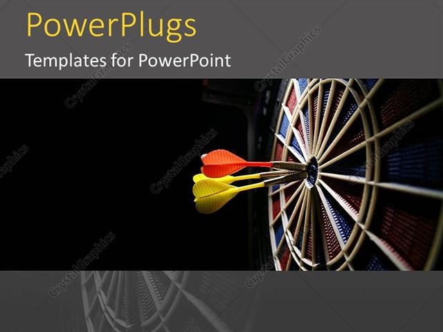 PowerPoint Template Displaying Dartboard and Darts Target Center Target Goals Planning Black Background