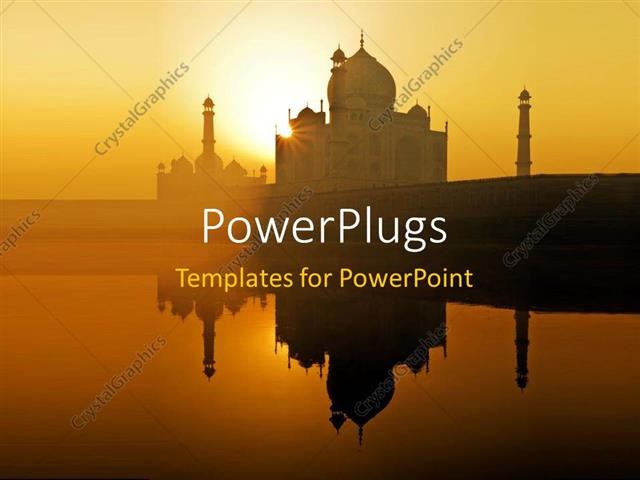 powerpoint template: dawn at the taj mahal in agra northwest india, Modern powerpoint