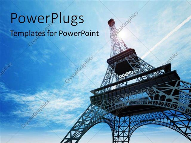 powerpoint template: a day time view of the eiffel tower in paris, Modern powerpoint
