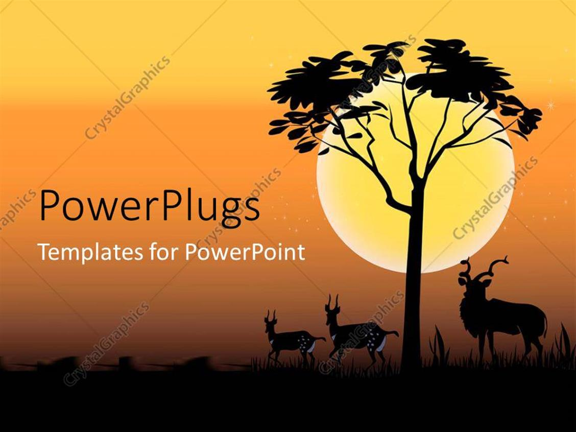 PowerPoint Template Displaying Deer with Horns with Tree Over Sunset on Orange Background