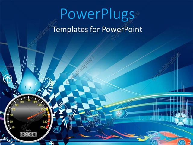 powerpoint template: depiction of car racing with speedometer and, Modern powerpoint