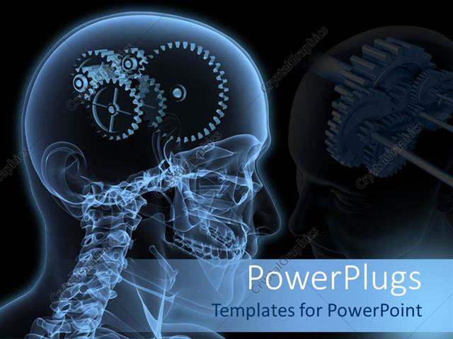 Powerpoint Template: The Depiction Of Gears Instead Of Human Brain