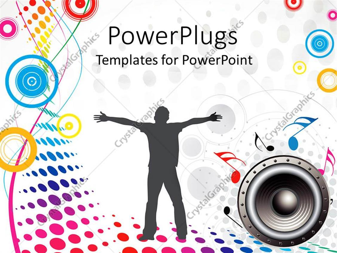 Powerpoint template depiction of a human on a music for Music themed powerpoint templates