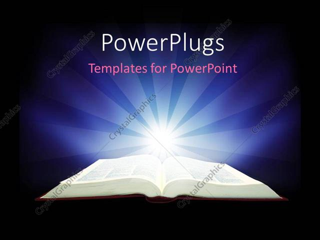 Powerpoint Template Spotlight Glowing On Open Bible With Powerpoint