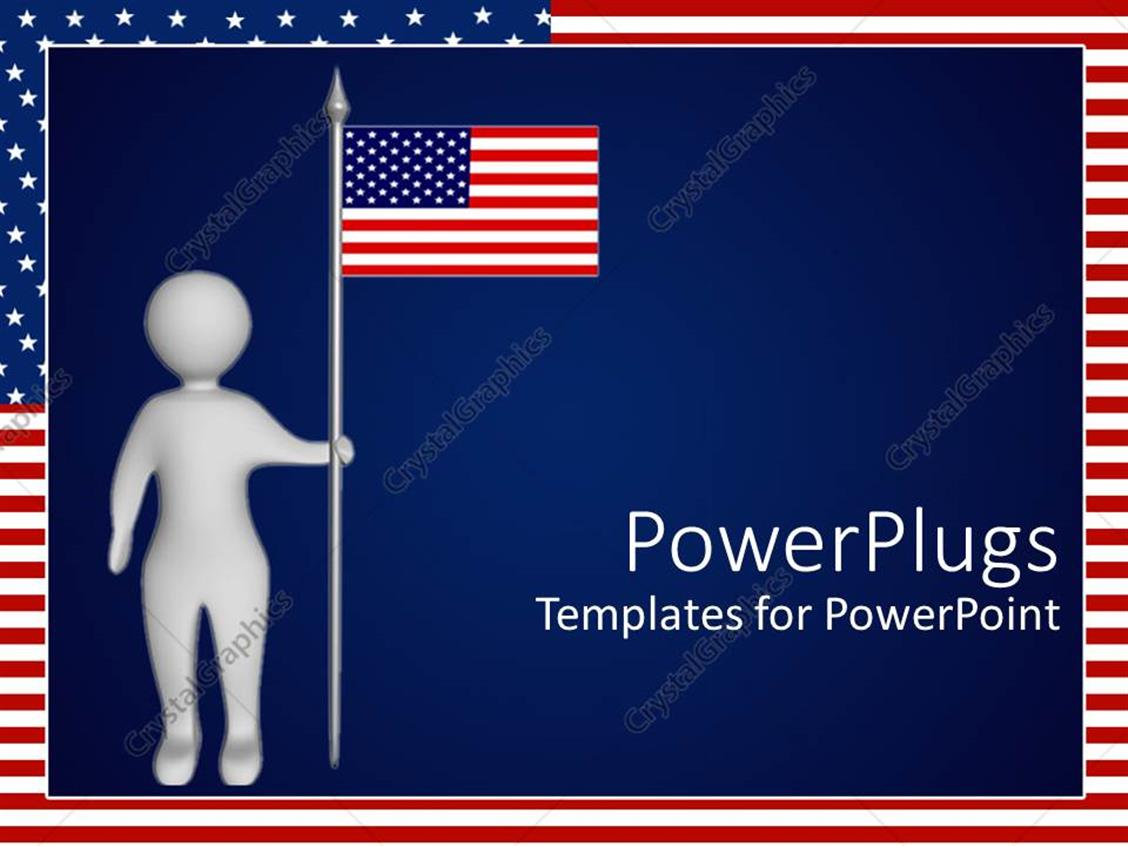 powerpoint template depiction of man holding american flag on navy blue background 1701. Black Bedroom Furniture Sets. Home Design Ideas