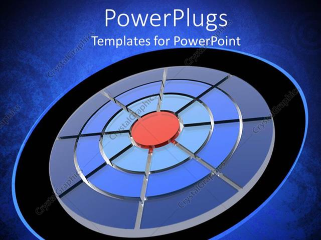 PowerPoint Template Displaying Depiction of a Plain Blue Background with Different Coloures of Circles