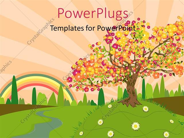 Powerpoint Template Depiction Of Trees And Summer Countryside