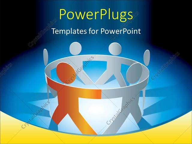 powerpoint template: depiction of unity with spotlight on paper, Modern powerpoint