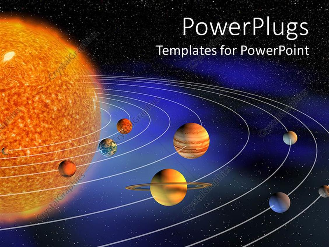 PowerPoint Template: diagram representing planets of the ...
