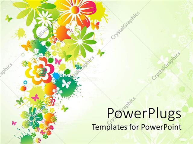 Powerpoint Template Different Flowers With Little Butterflies