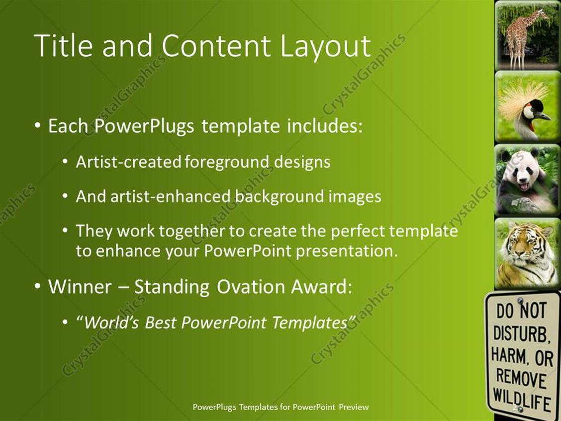 powerpoint template different tiles showing different animals