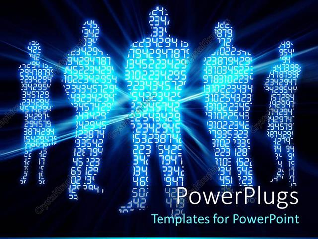 PowerPoint Template: digital numbers glowing made in shape of ...
