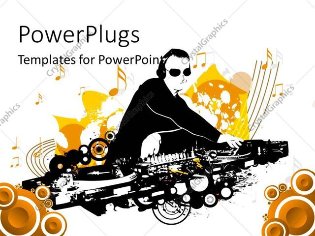 powerpoint template: a dj playing music with music signs in the, Powerpoint templates