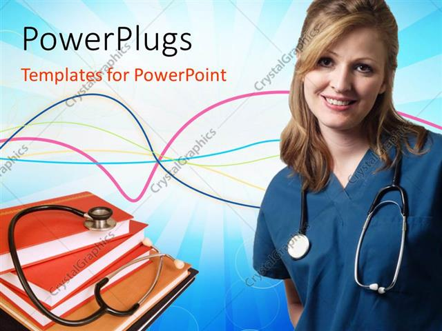 powerpoint template: a doctor who is happy with a number of books, Modern powerpoint