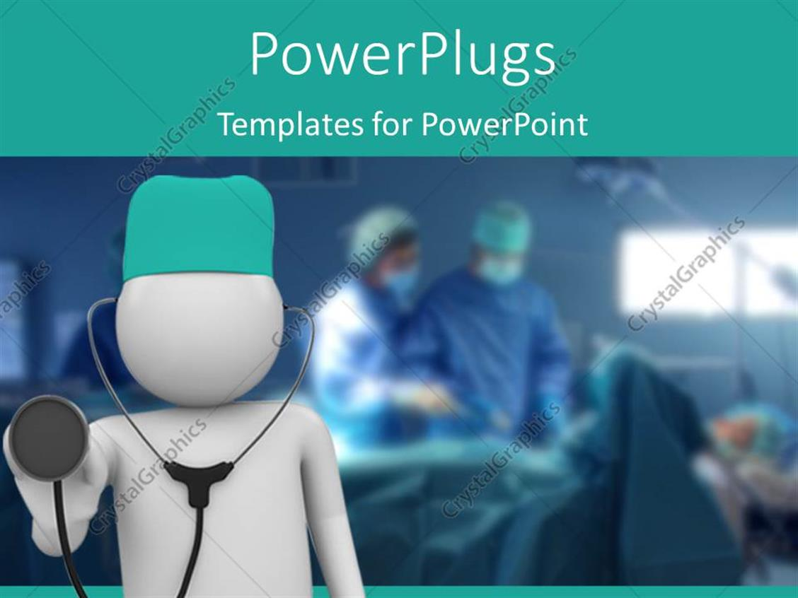 powerpoint template doctor with stethoscope in foreground and doctors operating 23410. Black Bedroom Furniture Sets. Home Design Ideas